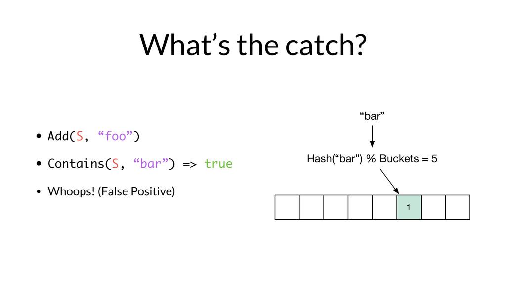 """bar"" Hash(""bar"") % Buckets = 5 1 What's the ca..."