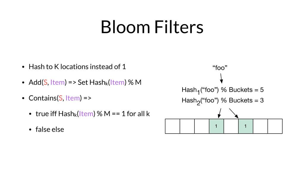 """""""foo"""" Hash1(""""foo"""") % Buckets = 5 1 1 Hash2(""""foo..."""