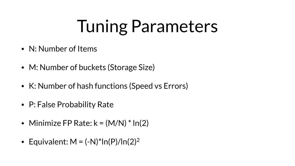 Tuning Parameters • N: Number of Items • M: Num...