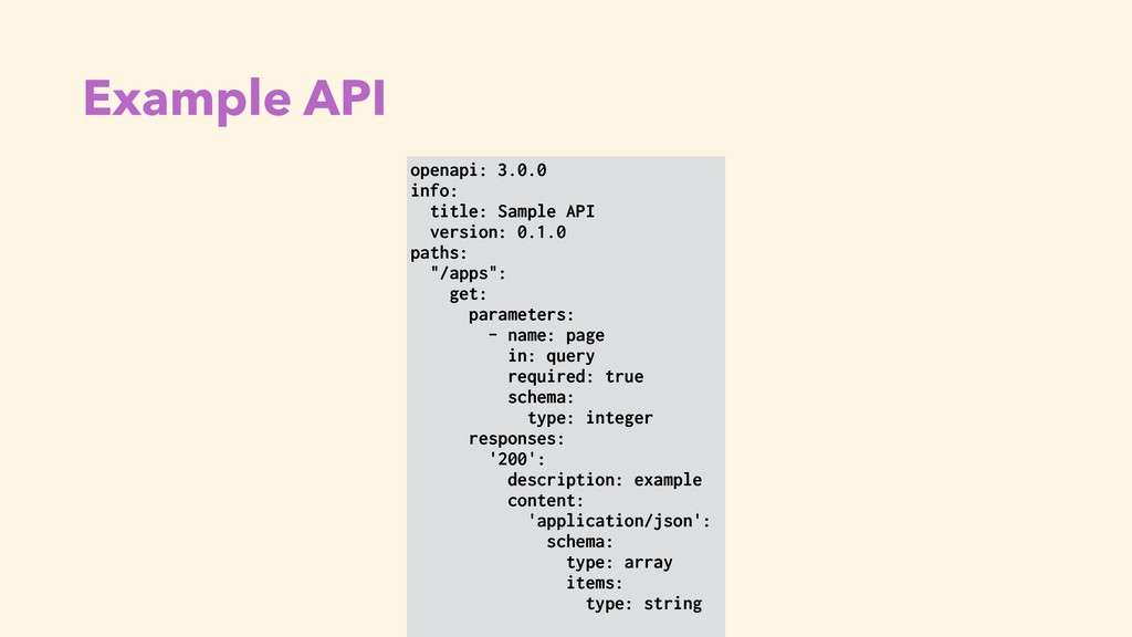 Example API openapi: 3.0.0 info: title: Sample ...