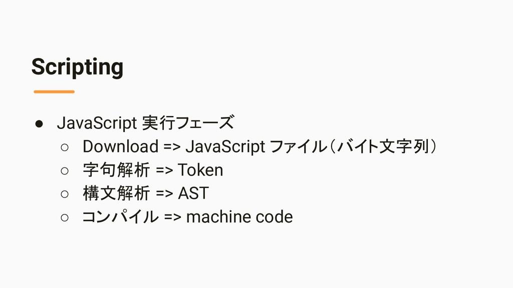 Scripting ● JavaScript 実行フェーズ ○ Download => Jav...
