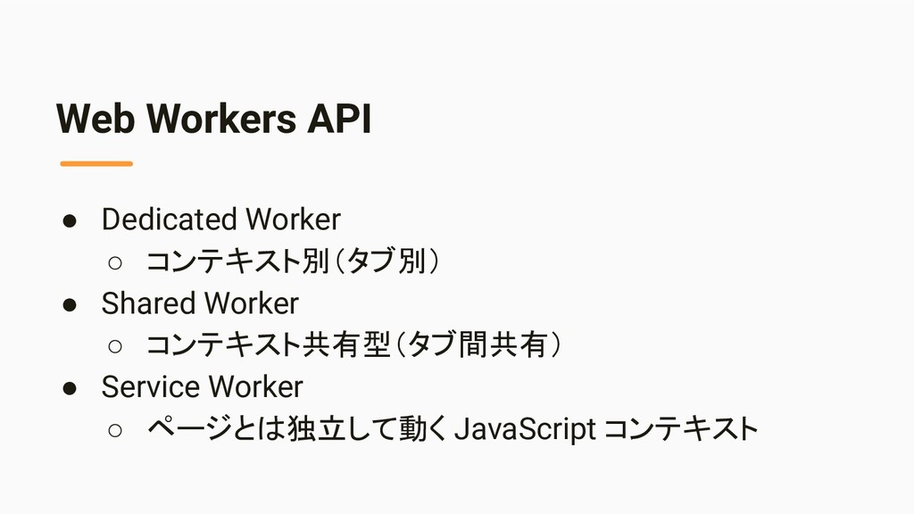 Web Workers API ● Dedicated Worker ○ コンテキスト別(タブ...