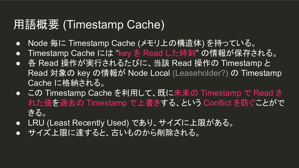 用語概要 (Timestamp Cache) ● Node 毎に Timestamp Cach...