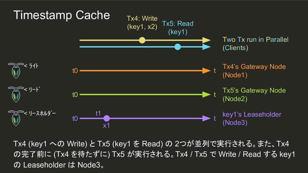 t1 Tx4 (key1 への Write) と Tx5 (key1 を Read) の 2つ...