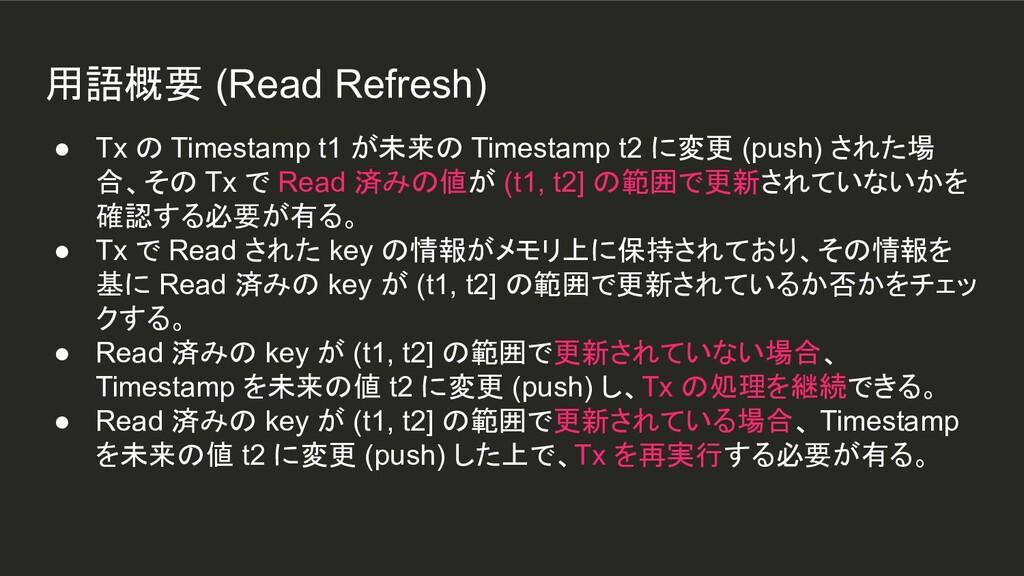 用語概要 (Read Refresh) ● Tx の Timestamp t1 が未来の Ti...