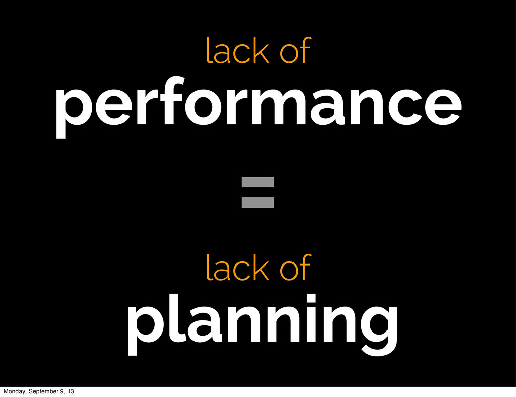 lack of performance lack of planning = Monday, ...