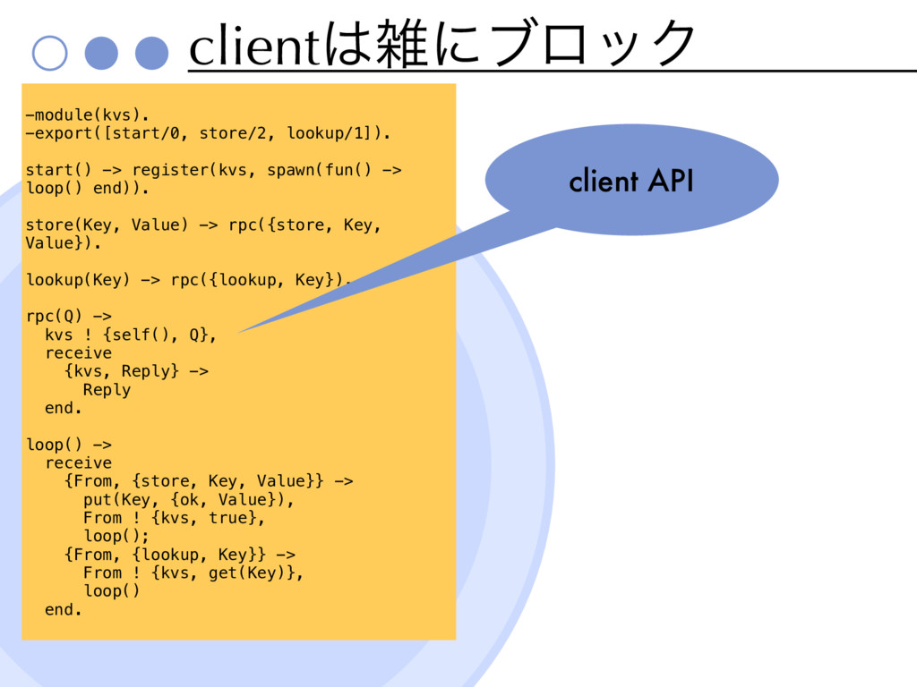 clientʹϒϩοΫ x -module(kvs). -export([start/0,...
