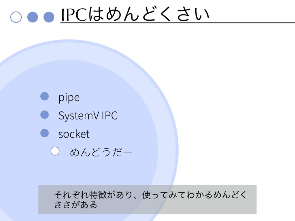 IPCΊΜͲ͍͘͞ pipe SystemV IPC socket ͦΕͧΕಛ͕͋Γɺͬ...