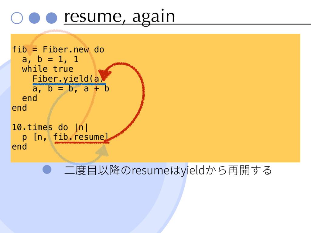 resume, again resume yield fib = Fiber.new do a...