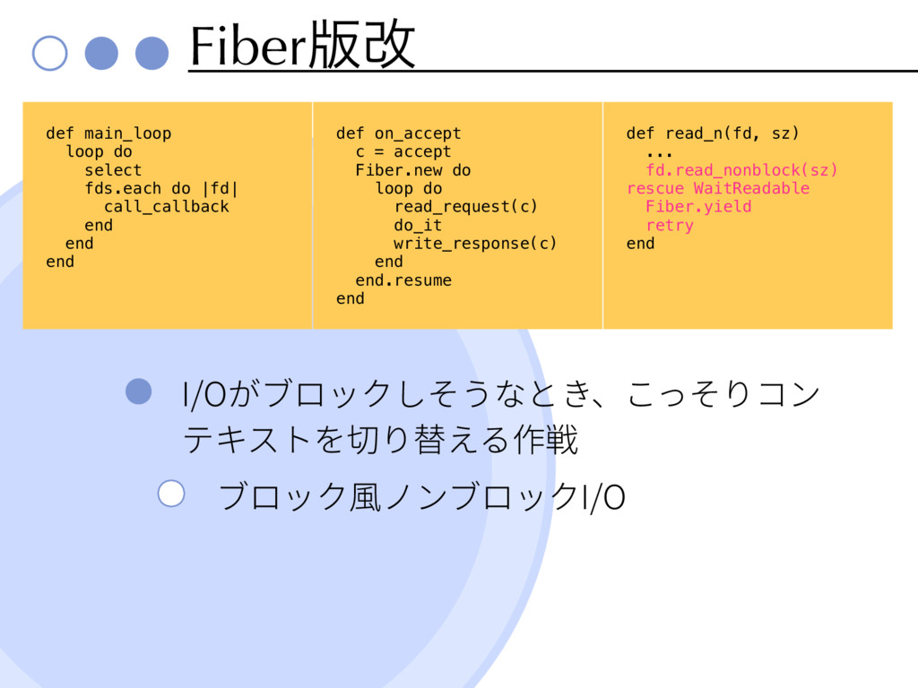Fiber൛վ I/O I/O def main_loop loop do select fd...