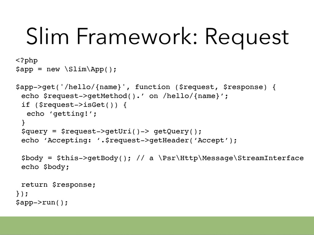 Slim Framework: Request <?php $app = new \Slim\...