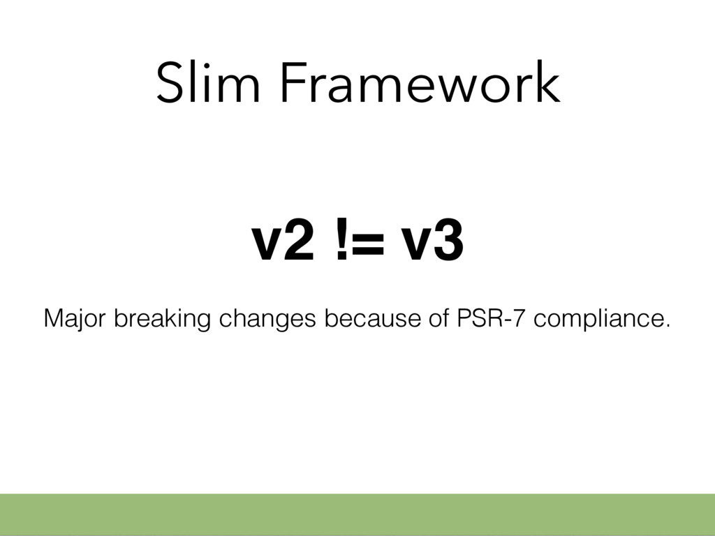 Slim Framework v2 != v3 Major breaking changes ...