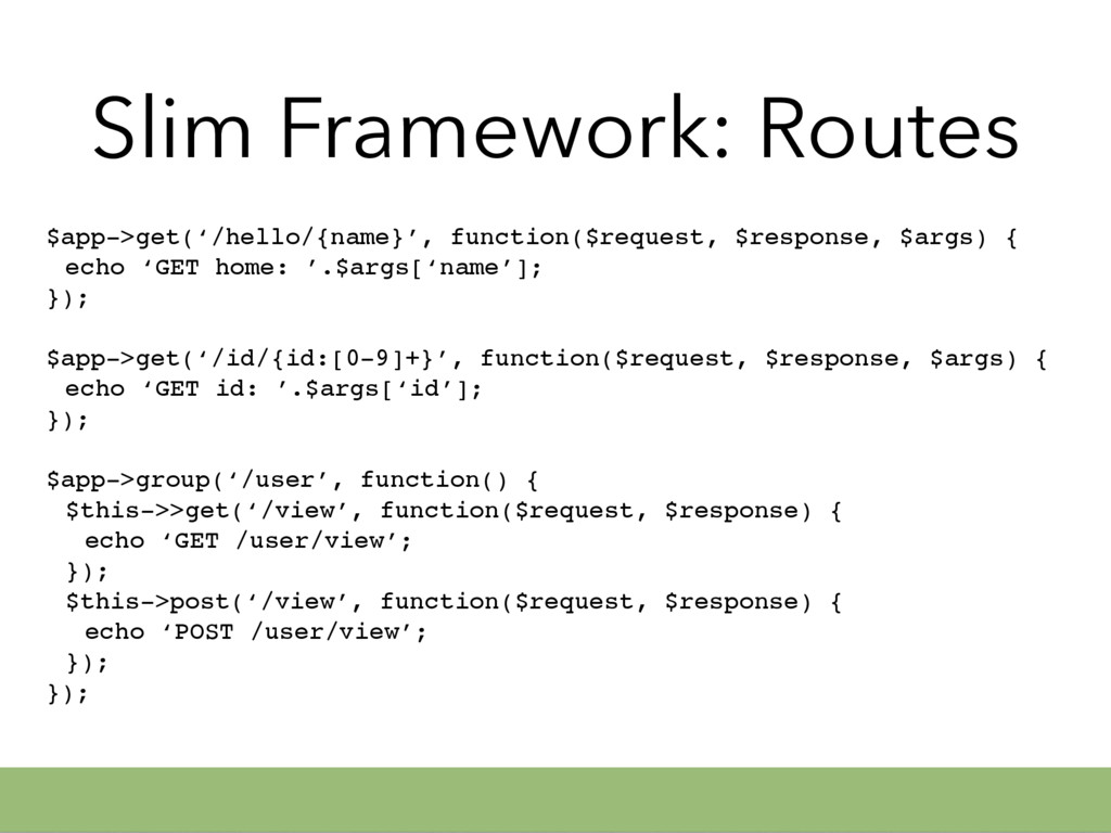 Slim Framework: Routes $app->get('/hello/{name}...