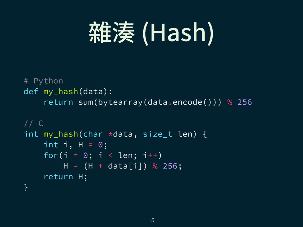 ꧹廔 )BTI  # Python def my_hash(data): return su...