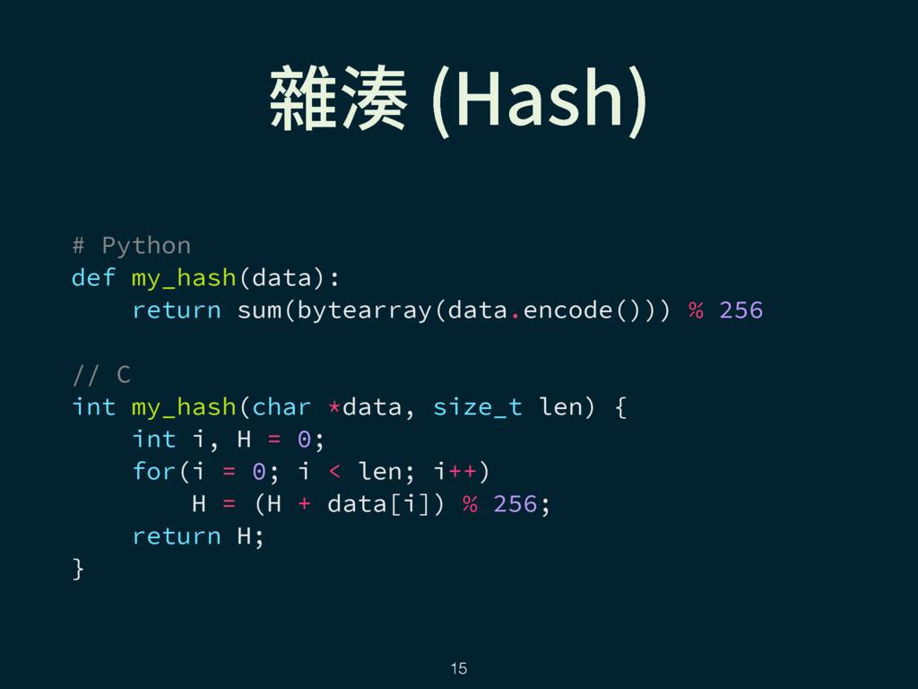 ꧹廔 )BTI  # Python def my_hash(data): return su...