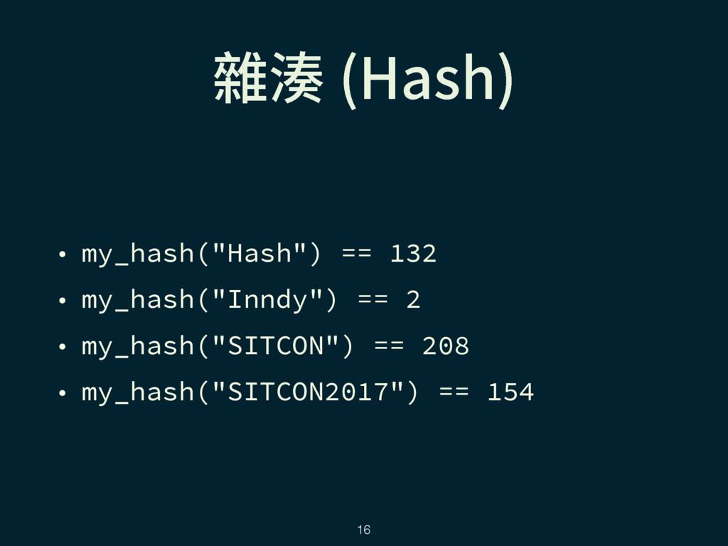 """꧹廔 )BTI  • my_hash(""""Hash"""") == 132 • my_hash(""""I..."""