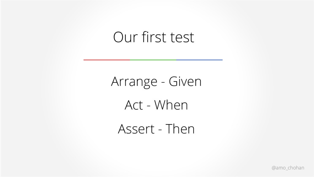 @amo_chohan Our first test Arrange - Given Act ...