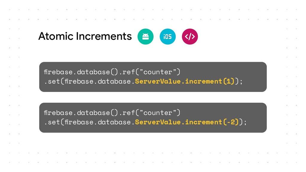 "firebase.database().ref(""counter"") .set(firebase...."