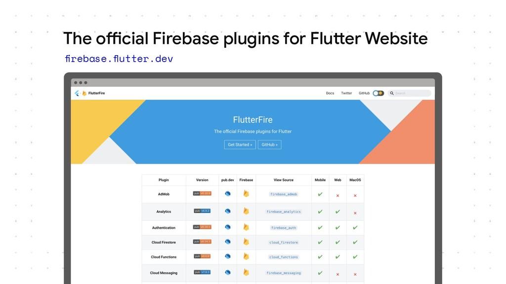 The official Firebase plugins for Flutter Websi...