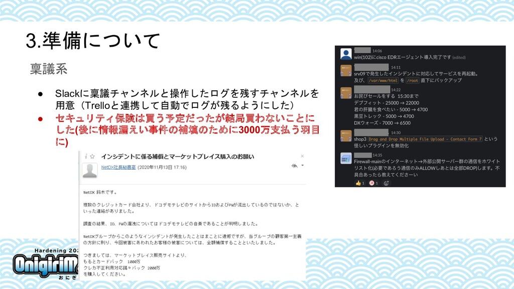 3.準備について 稟議系 ● Slackに稟議チャンネルと操作したログを残すチャンネルを 用意...
