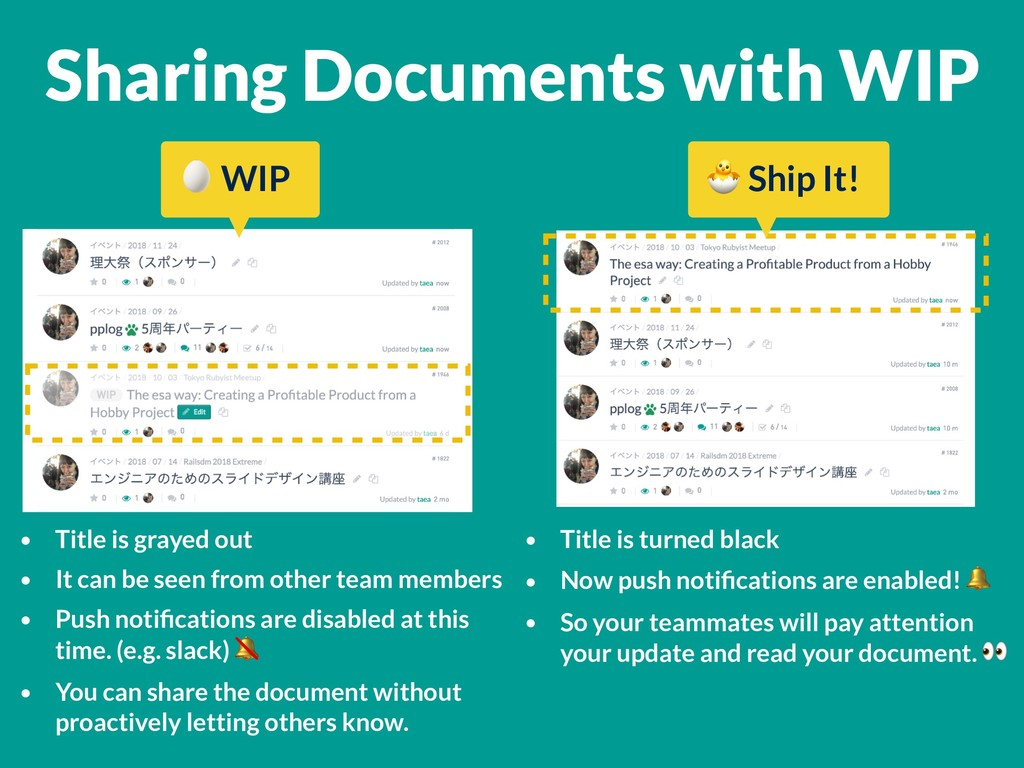 Sharing Documents with WIP • Title is grayed ou...