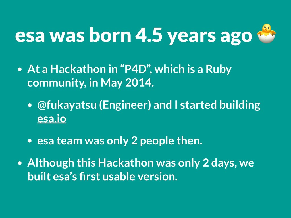 "• At a Hackathon in ""P4D"", which is a Ruby comm..."