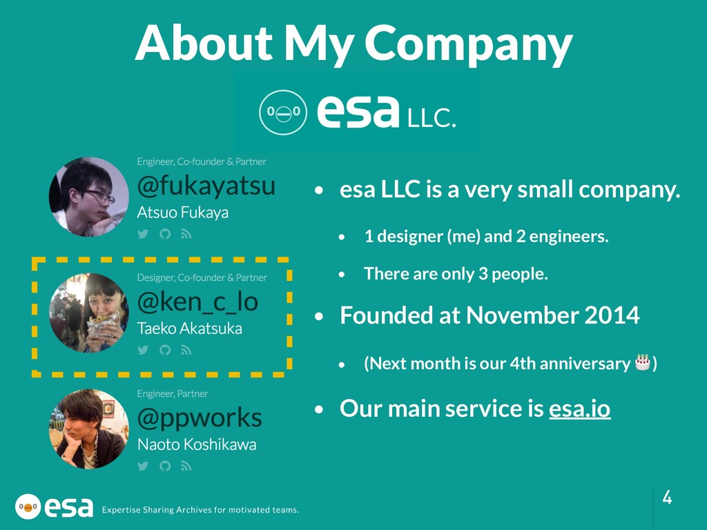 !4 • esa LLC is a very small company. • 1 desig...