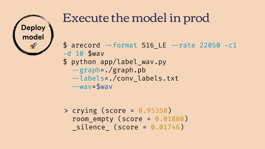 Execute the model in prod Deploy model  > cryin...