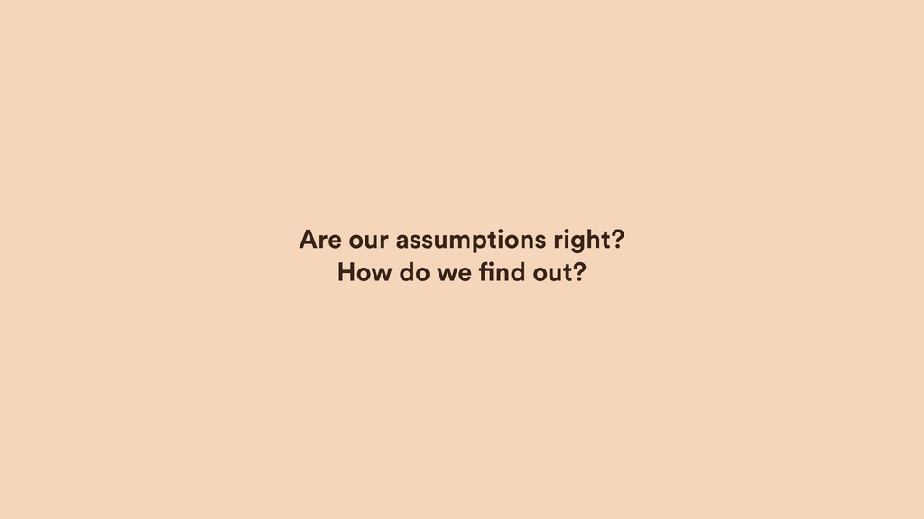 Are our assumptions right?