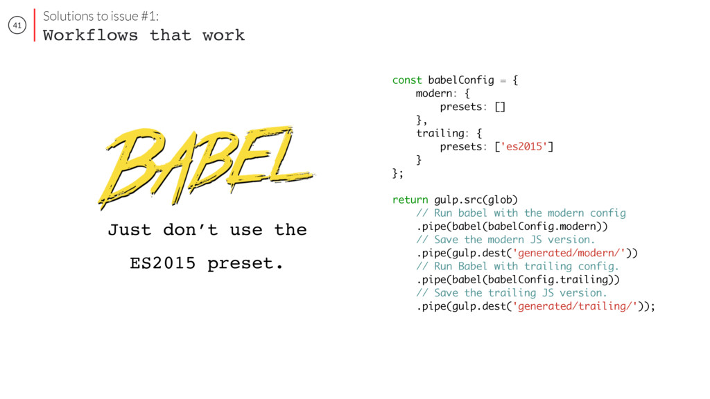 41 const babelConfig = { modern: { presets: [] ...