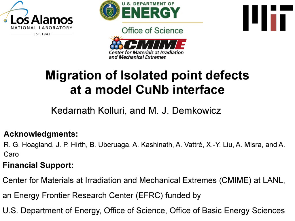 Migration of Isolated point defects at a model ...
