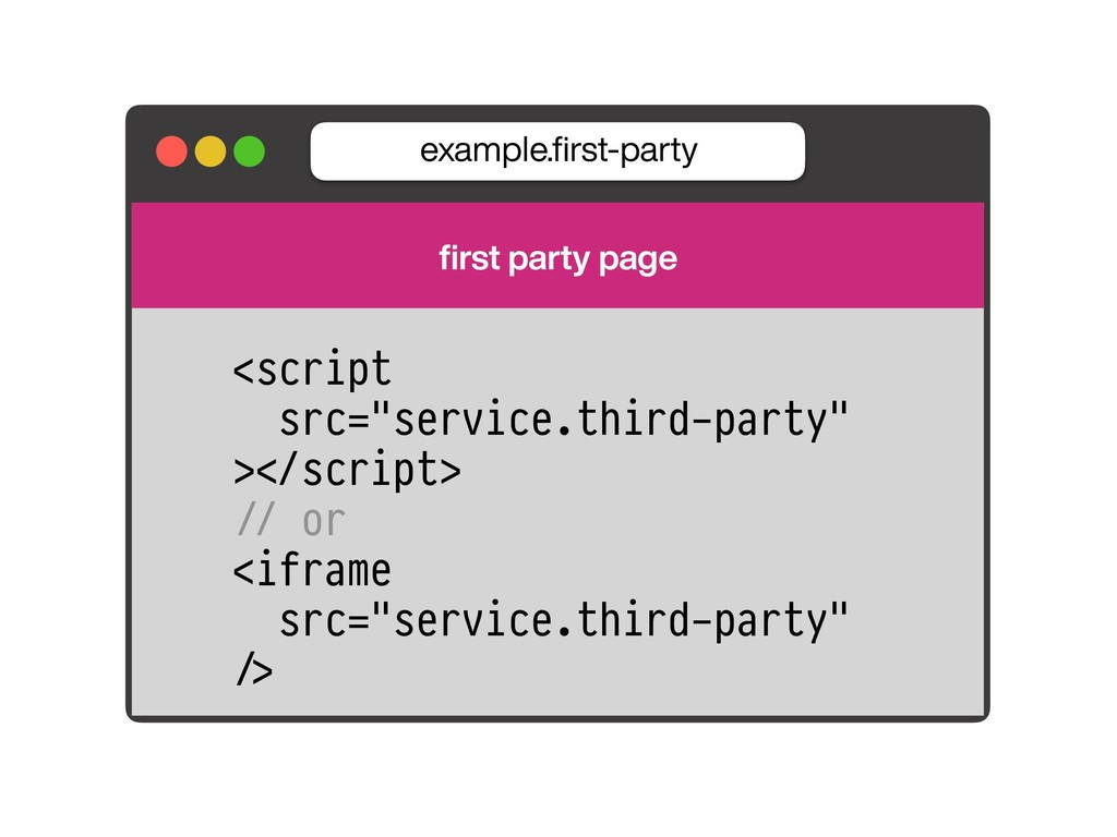 example.first-party first party page <script src=...