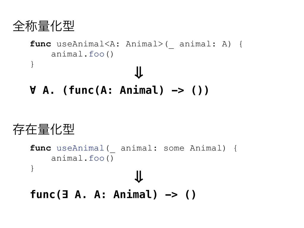 func useAnimal<A: Animal>(_ animal: A) { animal...