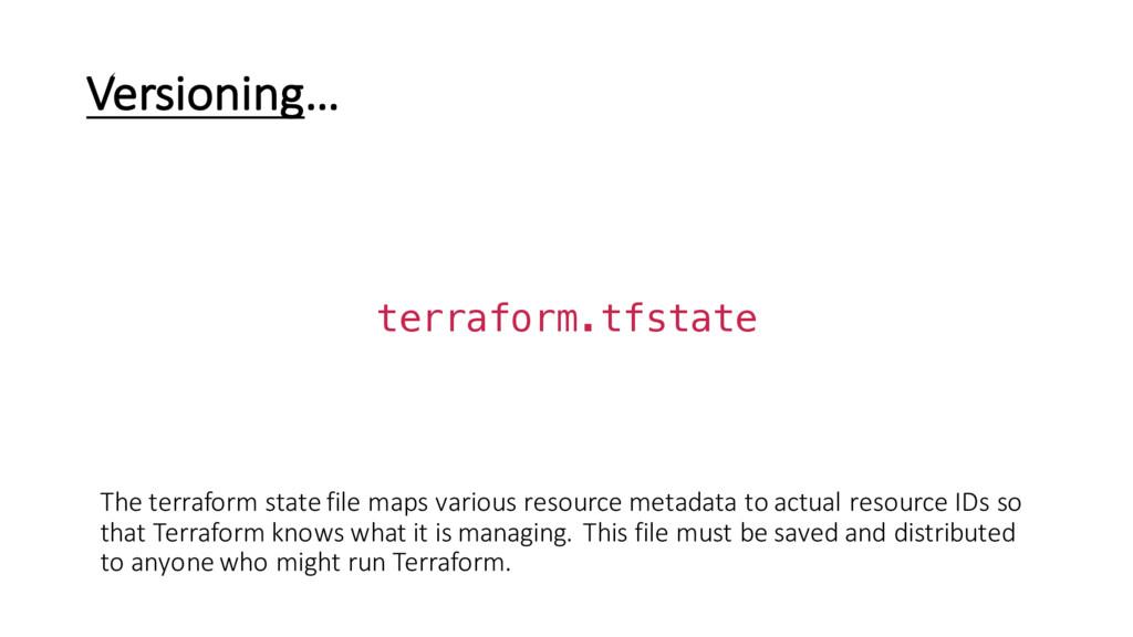 Versioning… terraform.tfstate The terraform sta...