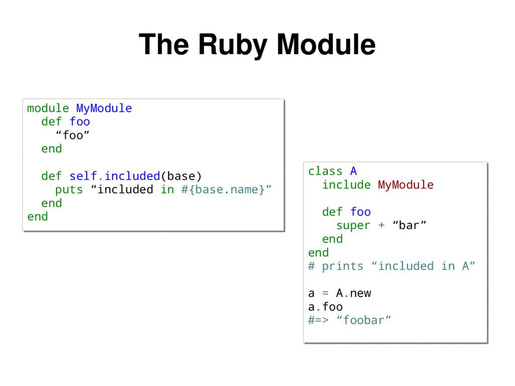 """The Ruby Module module MyModule def foo """"foo"""" e..."""