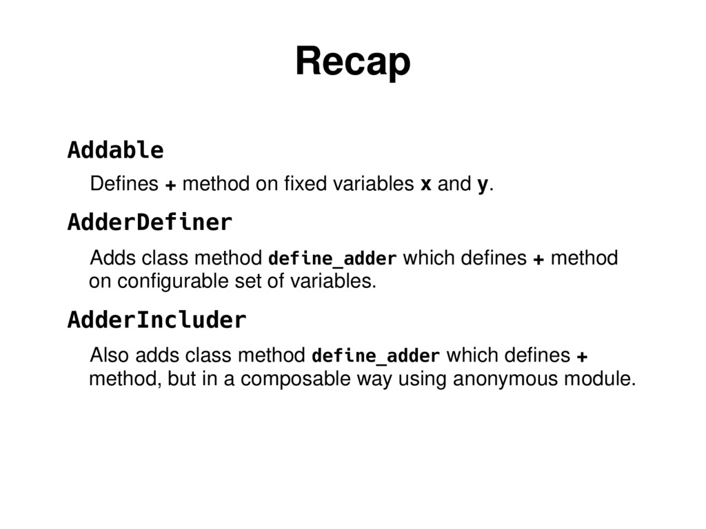 Recap Addable Defines + method on fixed variabl...