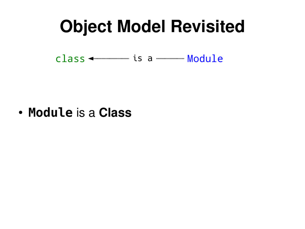 class Module Object Model Revisited ● Module is...