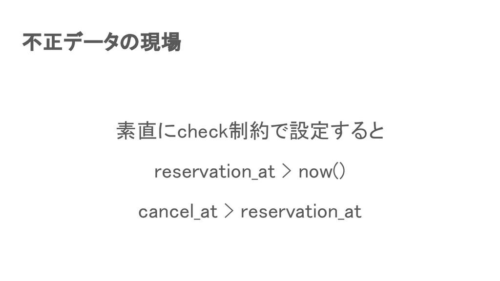 不正データの現場 素直にcheck制約で設定すると reservation_at > no...