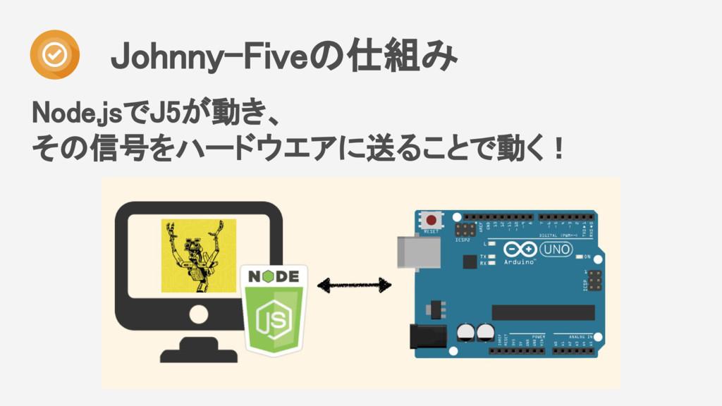 Node.jsでJ5が動き、 その信号をハードウエアに送ることで動く! Johnny-Five...