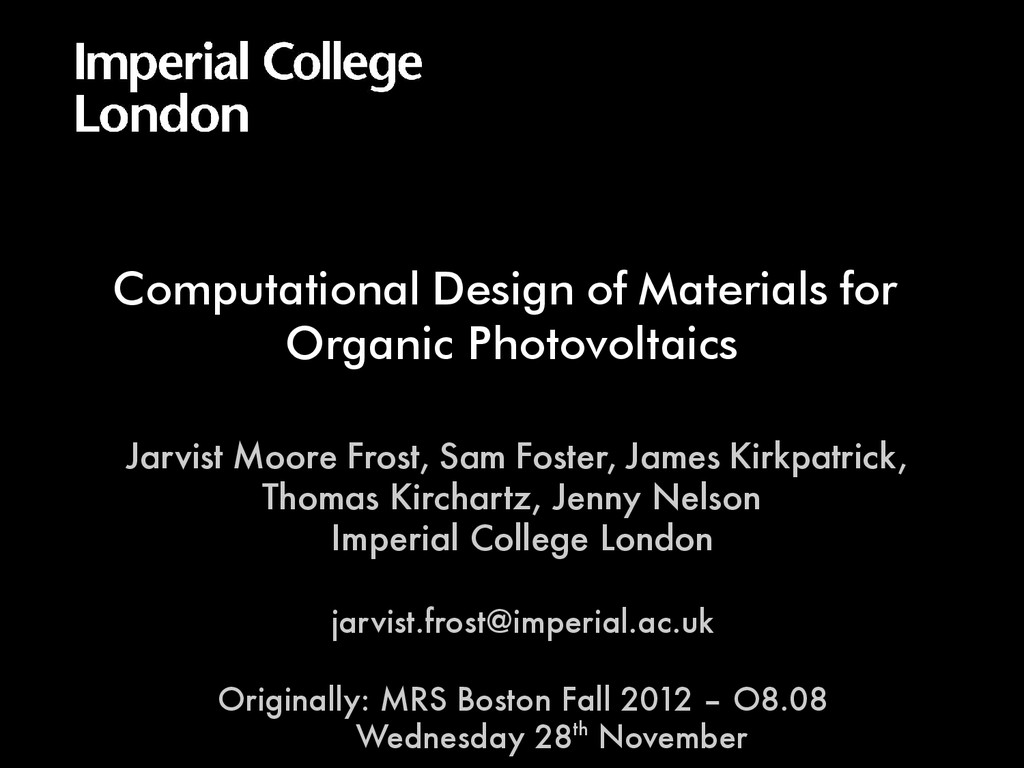 Computational Design of Materials for Organic P...
