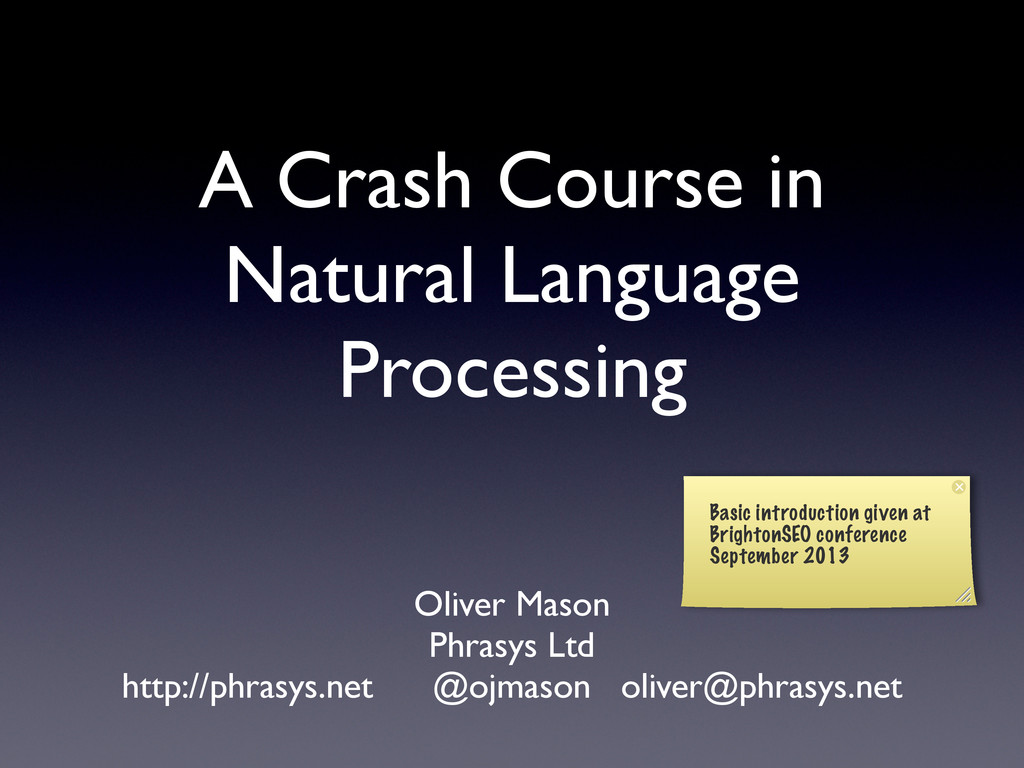 A Crash Course in Natural Language Processing O...