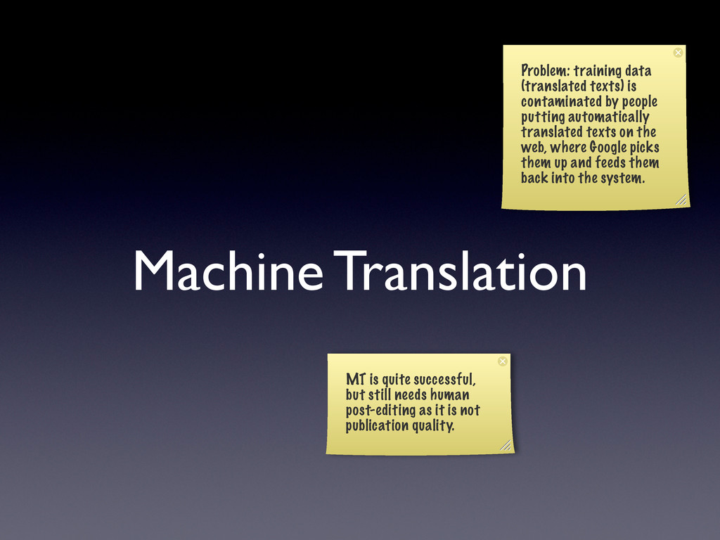 Machine Translation Problem: training data (tra...