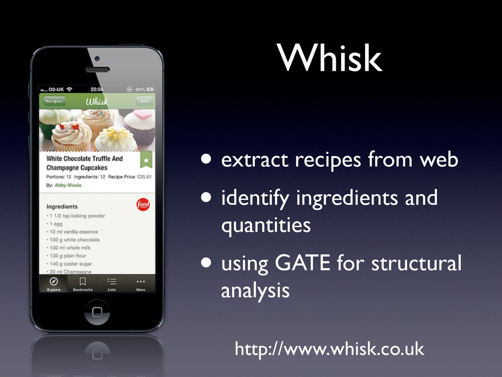 • extract recipes from web • identify ingredien...