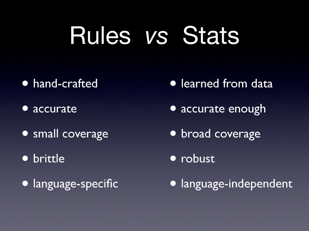Rules vs Stats • hand-crafted • accurate • smal...