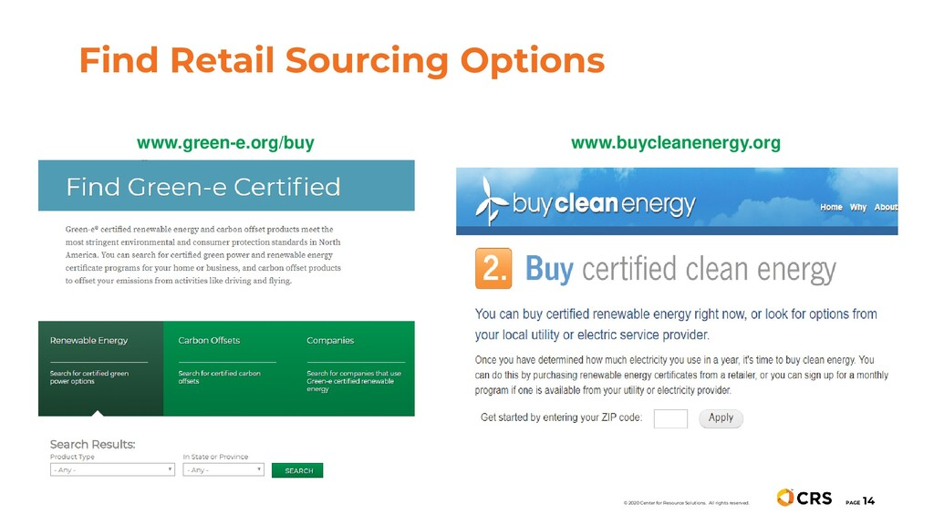 Find Retail Sourcing Options PAGE 14 © 2020 Cen...