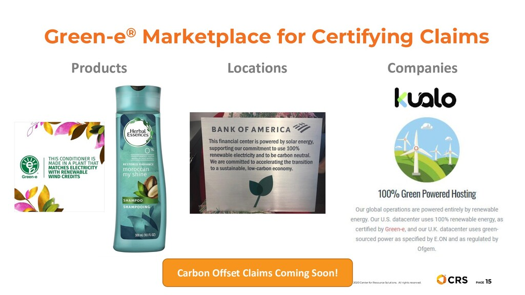 Green-e® Marketplace for Certifying Claims PAGE...