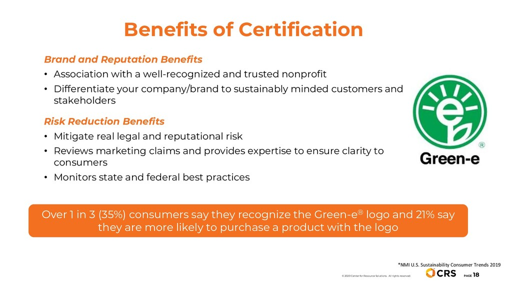 Benefits of Certification PAGE 18 © 2020 Center...