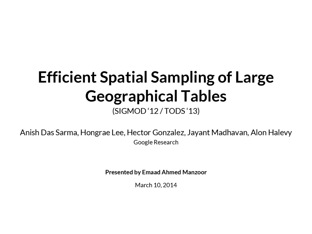 Efficient Spatial Sampling of Large Geographica...