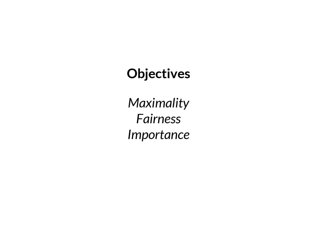 Maximality Fairness Importance Objectives