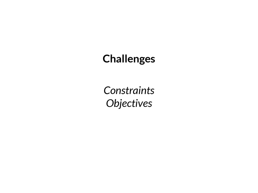 Constraints Objectives Challenges